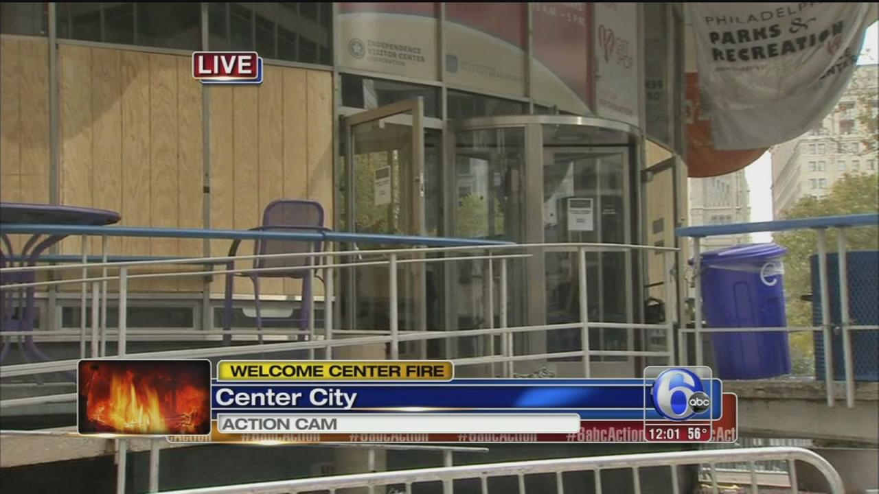 VIDEO: Fire damages welcome center in Phila.