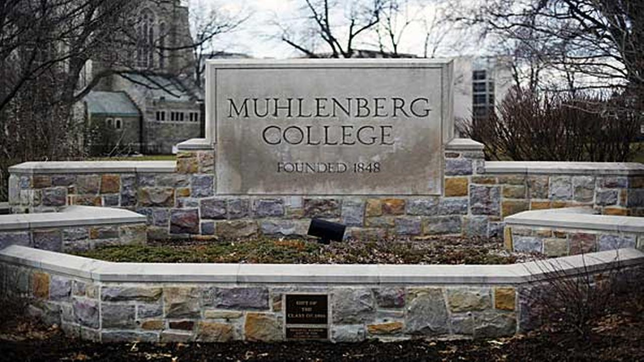 In this file photo, shown is a sign at Muhlenberg College, in Allentown, Pa.