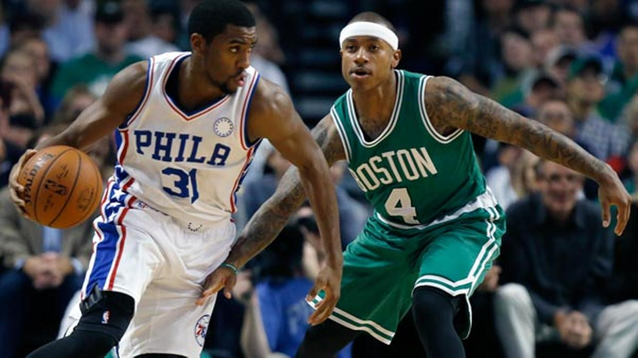 Philadelphia 76ers Hollis Thompson (31) drives past Boston Celtics Isaiah Thomas (4) during the second quarter of an NBA basketball game in Boston, Wednesday, Oct. 28, 2015.