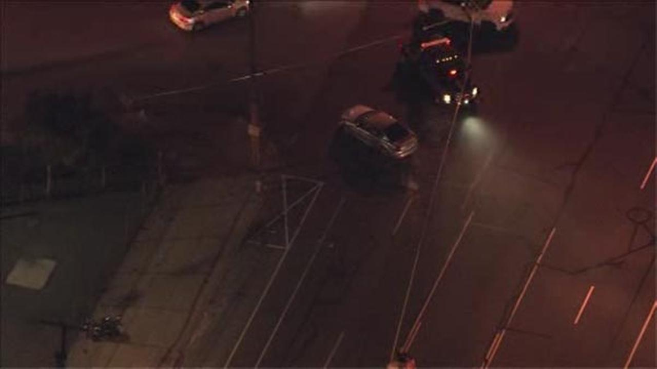 Three people were injured, two critical, after a motorcycle and car collided in South Philadelphia.