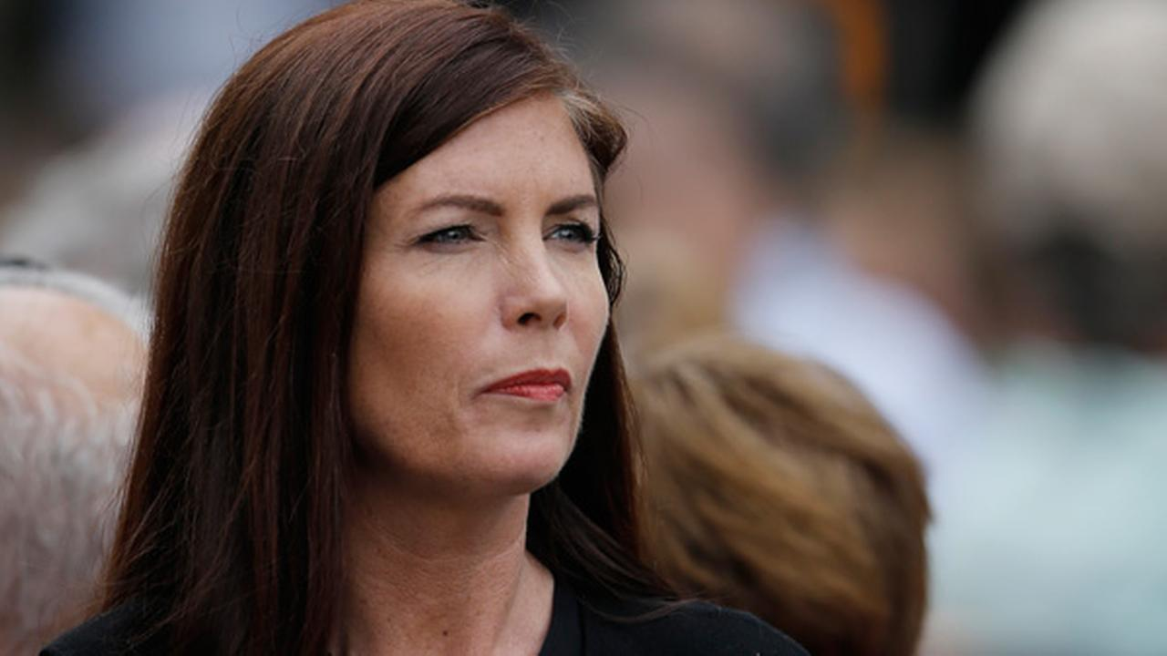 Pennsylvania Attorney General Kathleen Kane looks on while arriving at Benjamin Franklin Parkway ahead of the Papal Mass Sunday, Sept. 27, 2015, in Philadelphia.