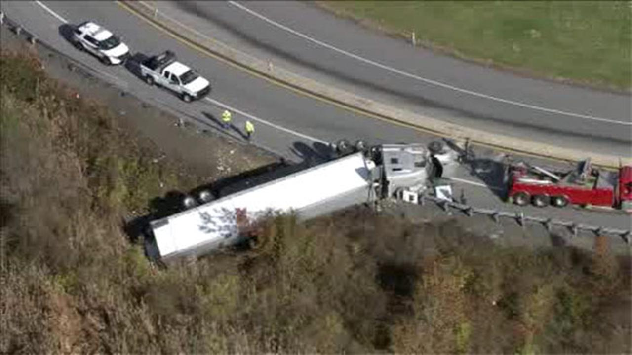 Truck overturns of ramp from Pa. Turnpike to Rt. 100