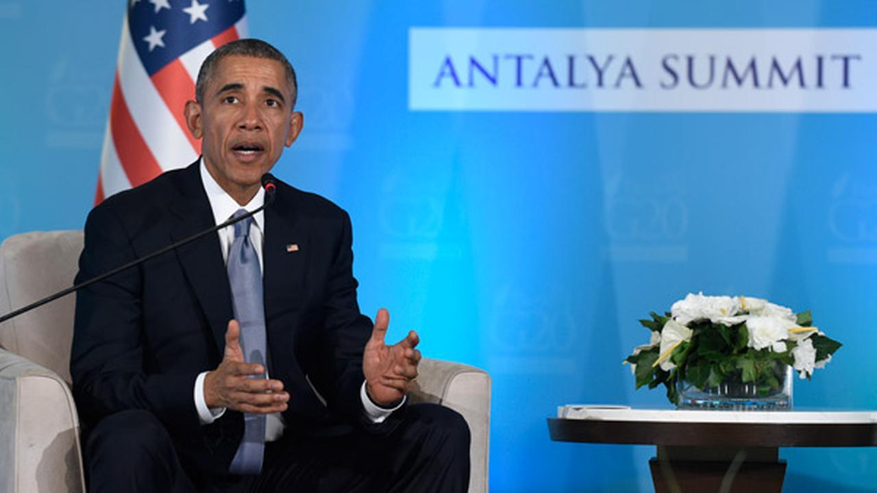 U.S President Barack Obama speaks during a press availability with Turkeys President Recep Tayyip Erdogan in Antalya, Turkey, Sunday, Nov. 15, 2015.