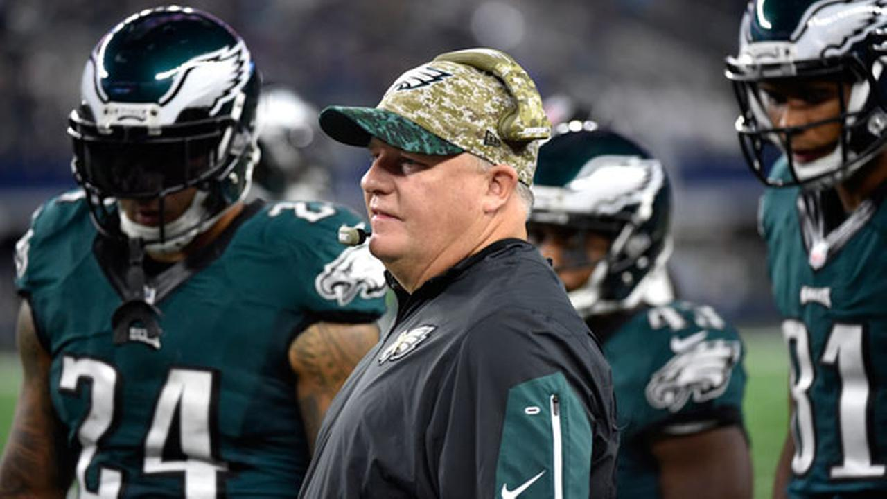 Philadelphia Eagles head coach Chip Kelly stands on the sideline with his team in the first half of an NFL football game against the Dallas Cowboys on Sunday, Nov. 8, 2015.