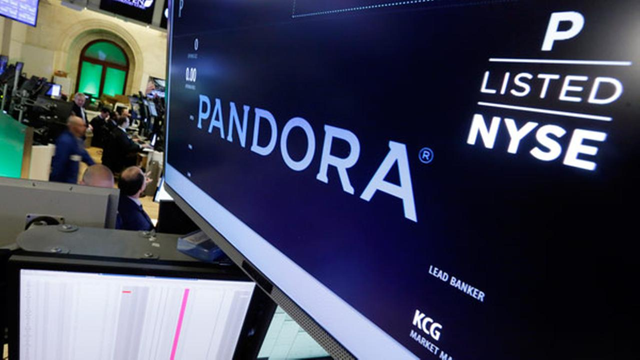 Pandora is displayed above a post where it trades on the floor of the New York Stock Exchange, Friday, Oct. 23, 2015.