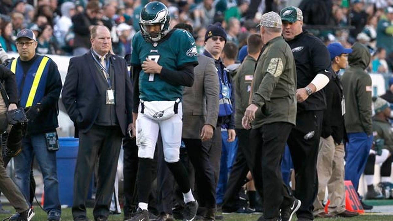 Philadelphia Eagles Sam Bradford heads to the locker room after being injured during the second half of an NFL football game against the Miami Dolphins, Sunday, Nov. 15, 2015.