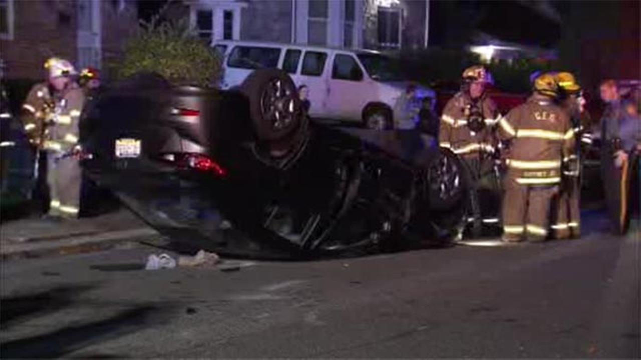 One person is hospitalized after two vehicles collided, and one flipped over in Delaware County.
