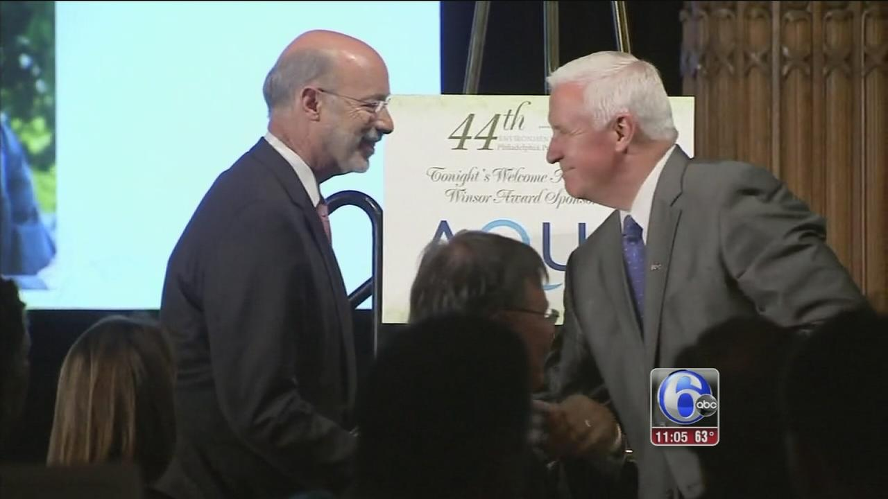 Gov. Corbett, Tom Wolf share stage for 1st time