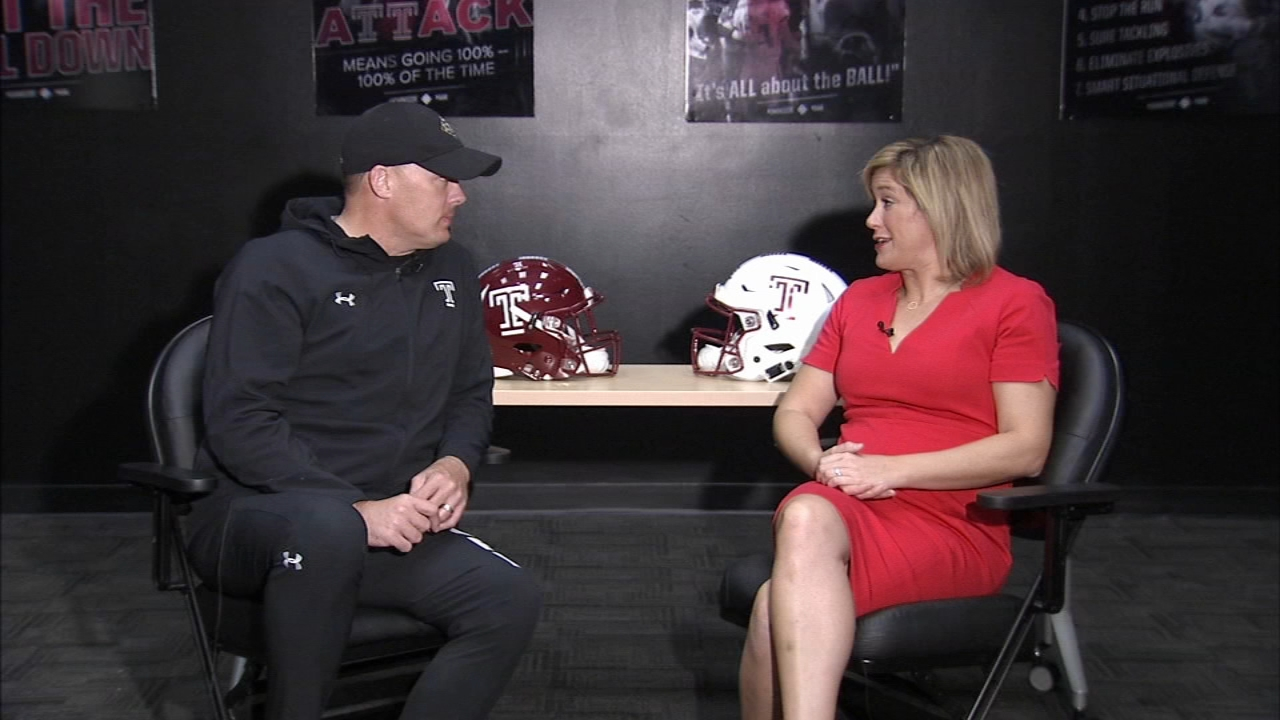 Jamie Apody talks with Coach Collins on Temple Football Playbook during Action News at 9 a.m. on November 3, 2018.