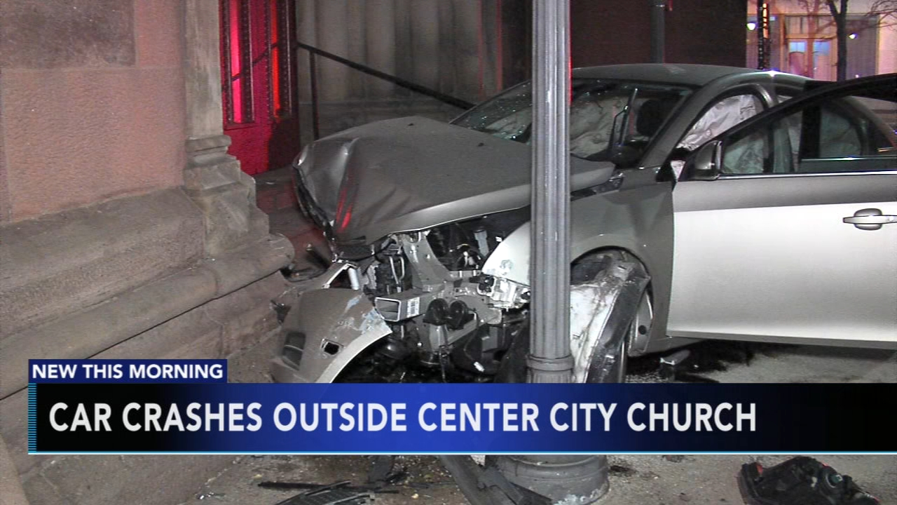 Car crashes into steps of Center City church. Gray Hall reports during Action News Mornings on November 4, 2018.