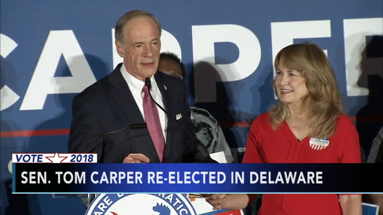 Sen. Tom Carper re-elected in Delaware, as seen on Action News at 11 p.m., November 6, 2018