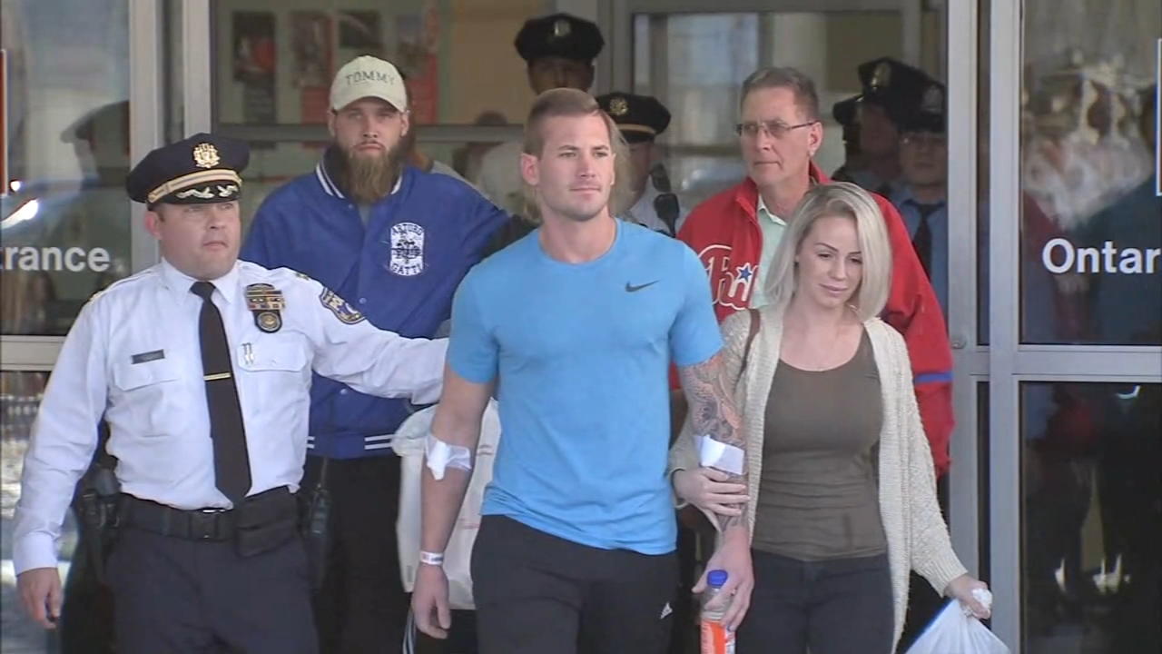 Wounded Philly police officer released from the hospital. Maggie Kent reports during Action News at 4pm on November 8, 2018.