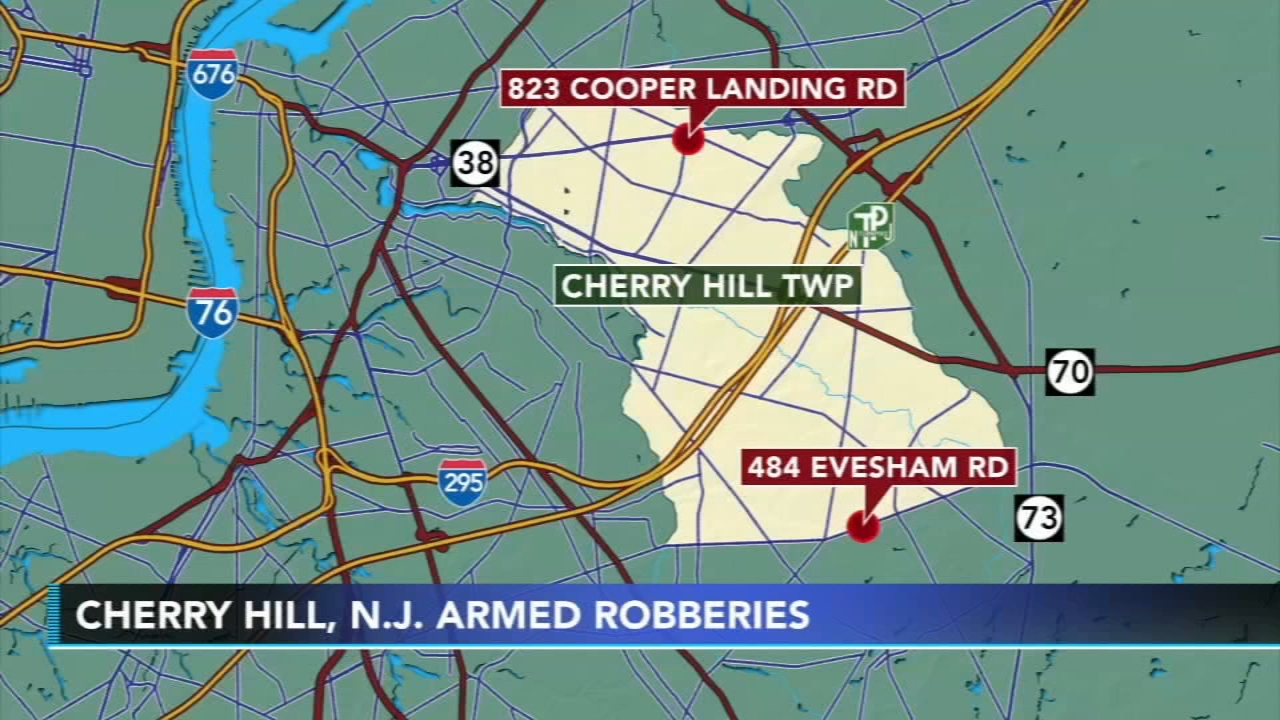 Police investigate 2 armed robberies in Cherry Hill. Watch the report on Action News at 11 p.m. on Nov. 10, 2018.