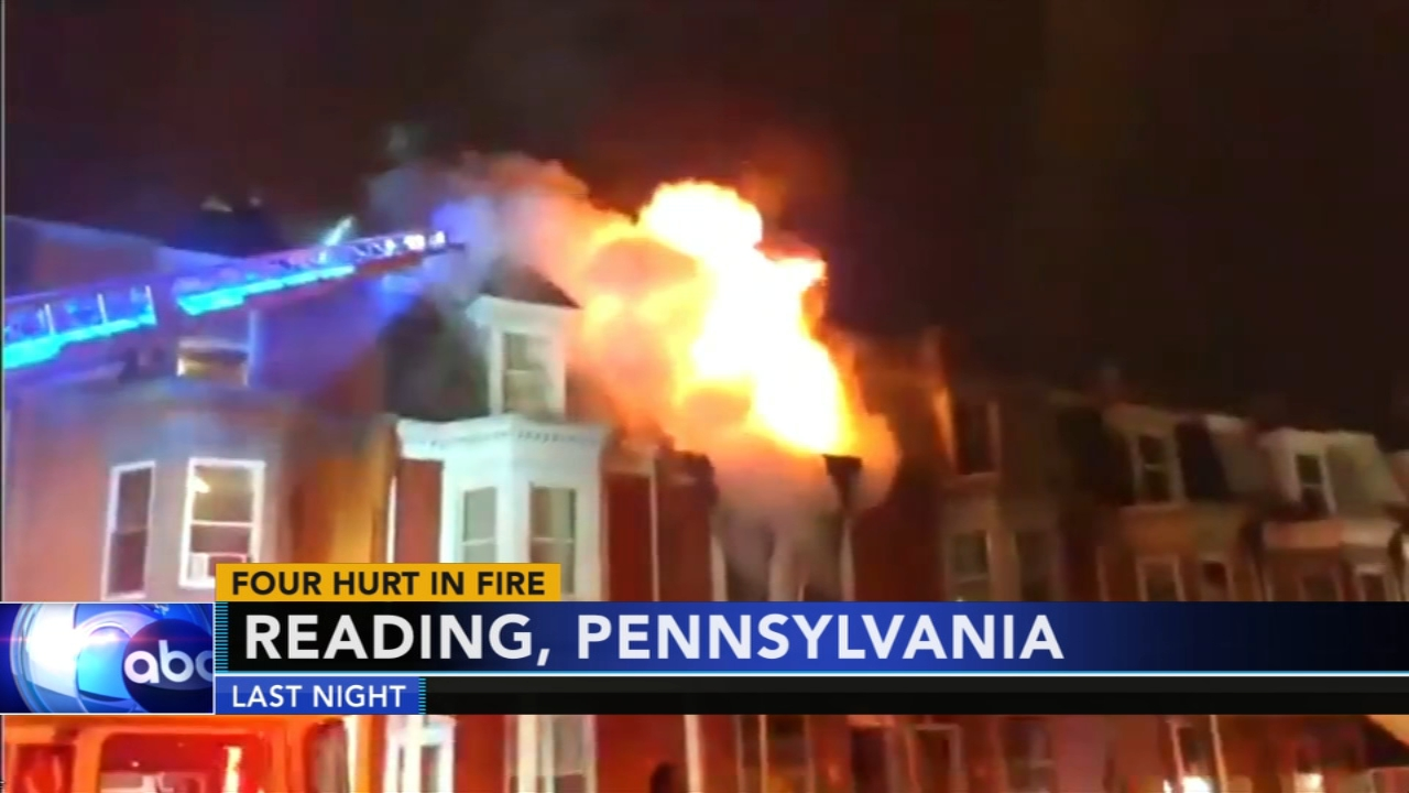 4 hospitalized after home catches fire in Reading. Gray Hall reports during Action News at 6 a.m. on November 10, 2018.
