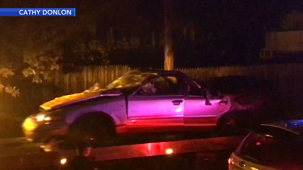 Car crashes into utility pole in Springfield Township. Gray Hall reports during Action News at 6 a.m. on November 10, 2018.
