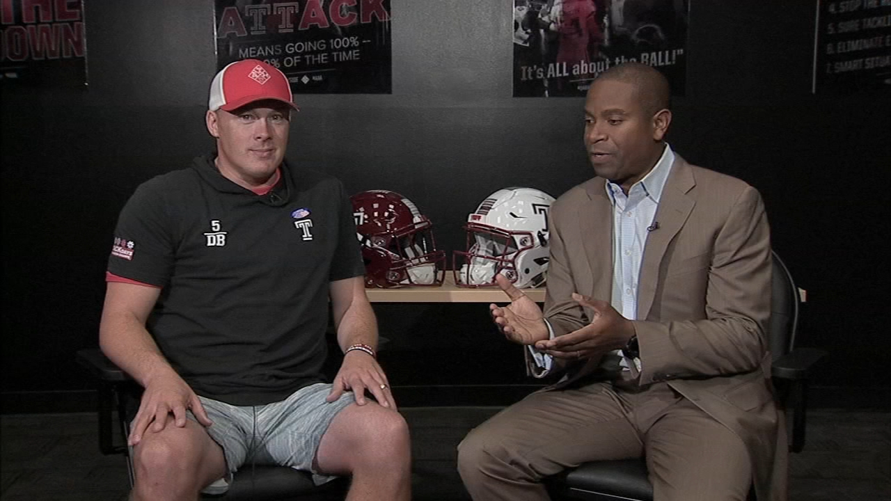 Ducis Rodgers talks with Coach Collins on Temple Football Playbook during Action News at 9 a.m. on November 10, 2018.