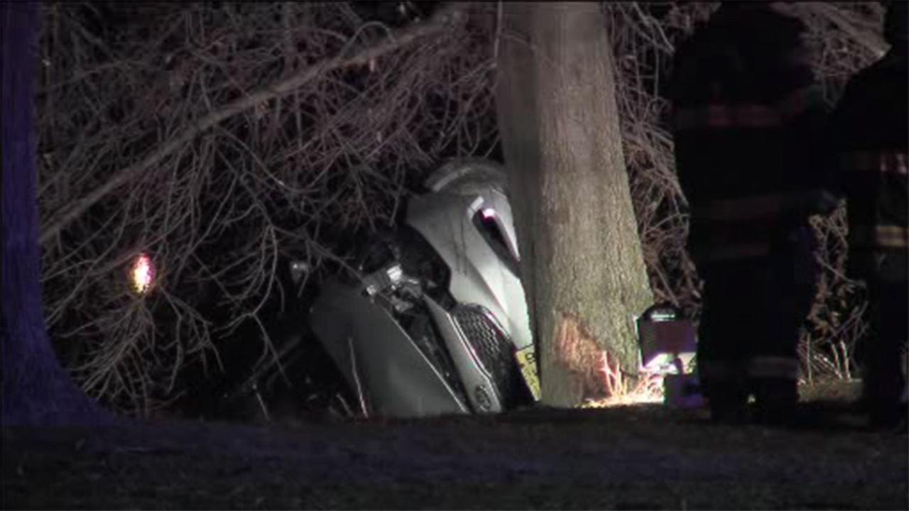 Car partially lands in Cooper River after crash in NJ