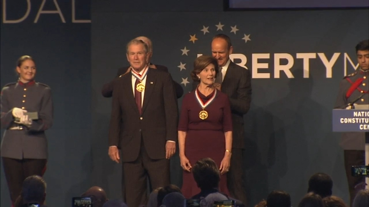 George W. Bush and Laura Bush receive 2018 Liberty Medal: Annie McCormick reports on Action News at 11 p.m., November 11, 2018