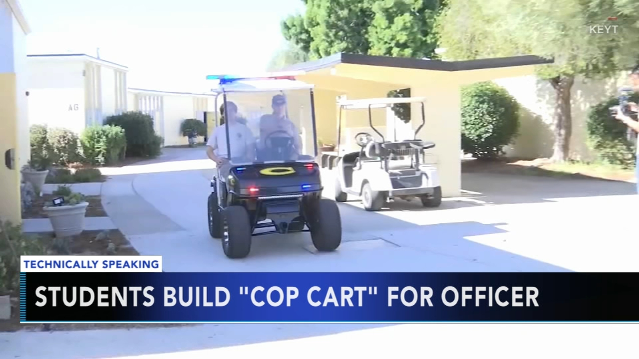 Students build mini cop car for school resource officer. Nydia Han reports during Action News at 9 a.m. on November 11, 2018.