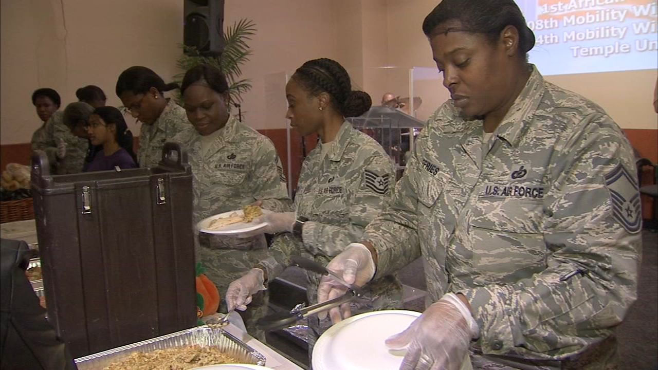 Members of the 108th wing of Joint Base McGuire-Dix-Lakehurst of the U.S. Air Force served a meal to homeless veterans as reported by Dann Cuellar during Action News at 11 on Novem