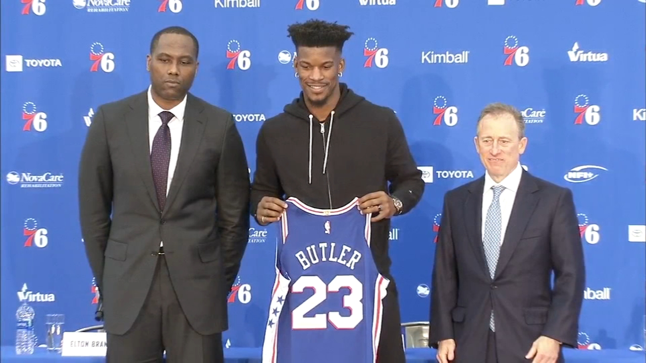 76ers introduce Jimmy Butler. Jamie Apody reports during Action News at Noon on November 13, 2018.