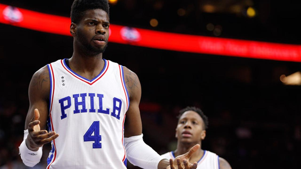 Philadelphia 76ers Nerlens Noel reacts to the call on the court against the Sixers during the second half of an NBA basketball game against the San Antonio Spurs, Monday, Dec. 7.