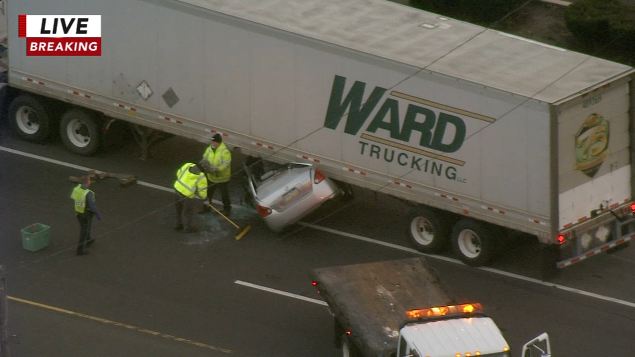 Car wedged under truck in Bensalem, Pa. Karen Rogers reports during Action News Mornings on November 14, 2018.
