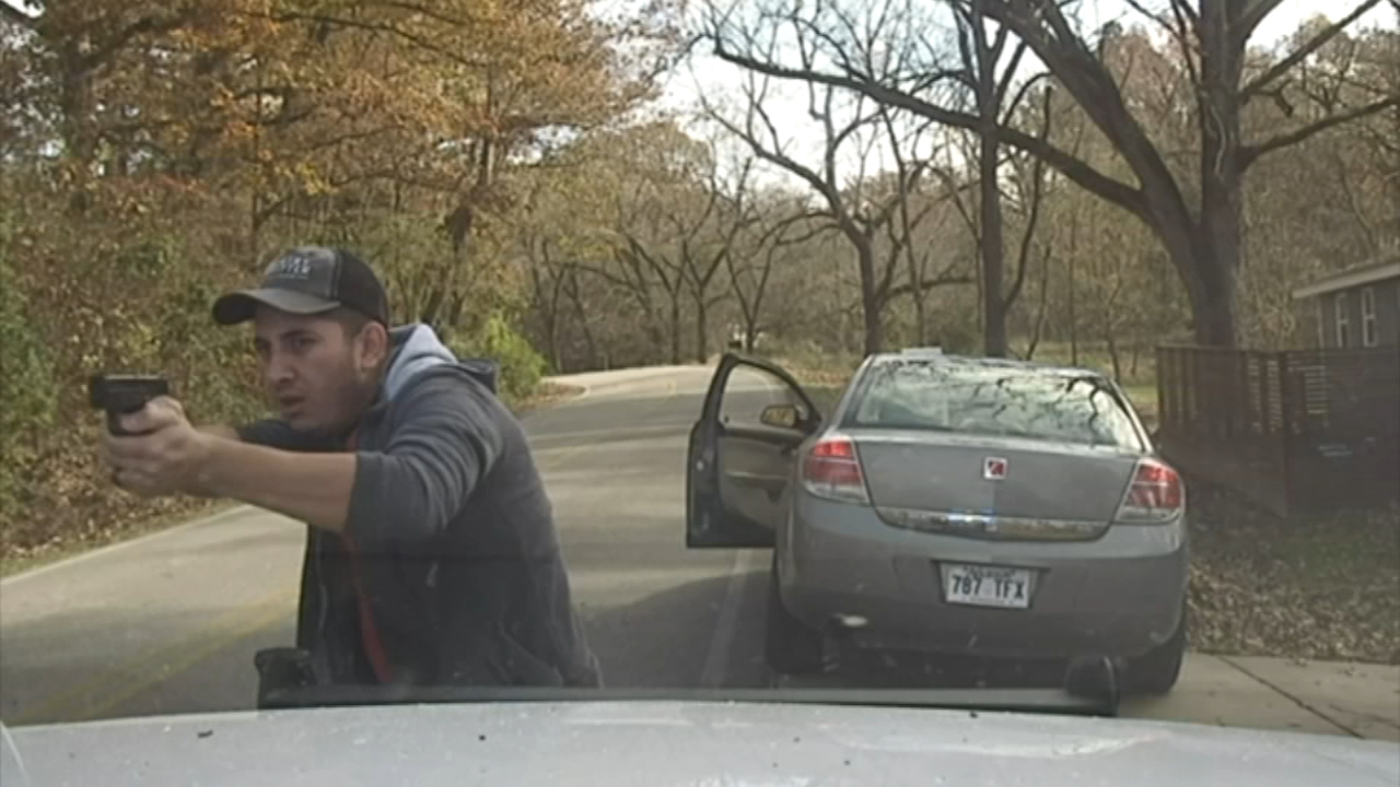 A routine traffic stop turned into a wild shootout in Arkansas.