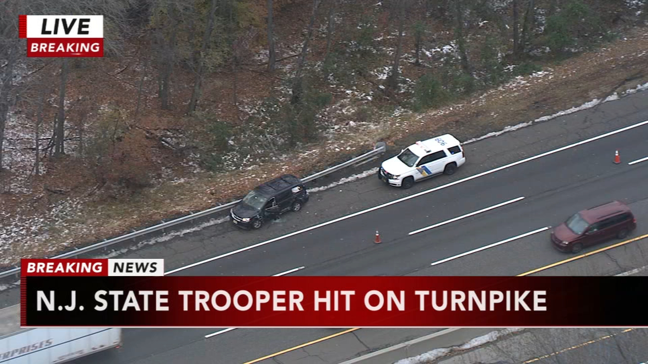 State police trooper struck, injured at crash scene on New Jersey Turnpike. Watch this report from Action News at 4pm on November 16, 2018.