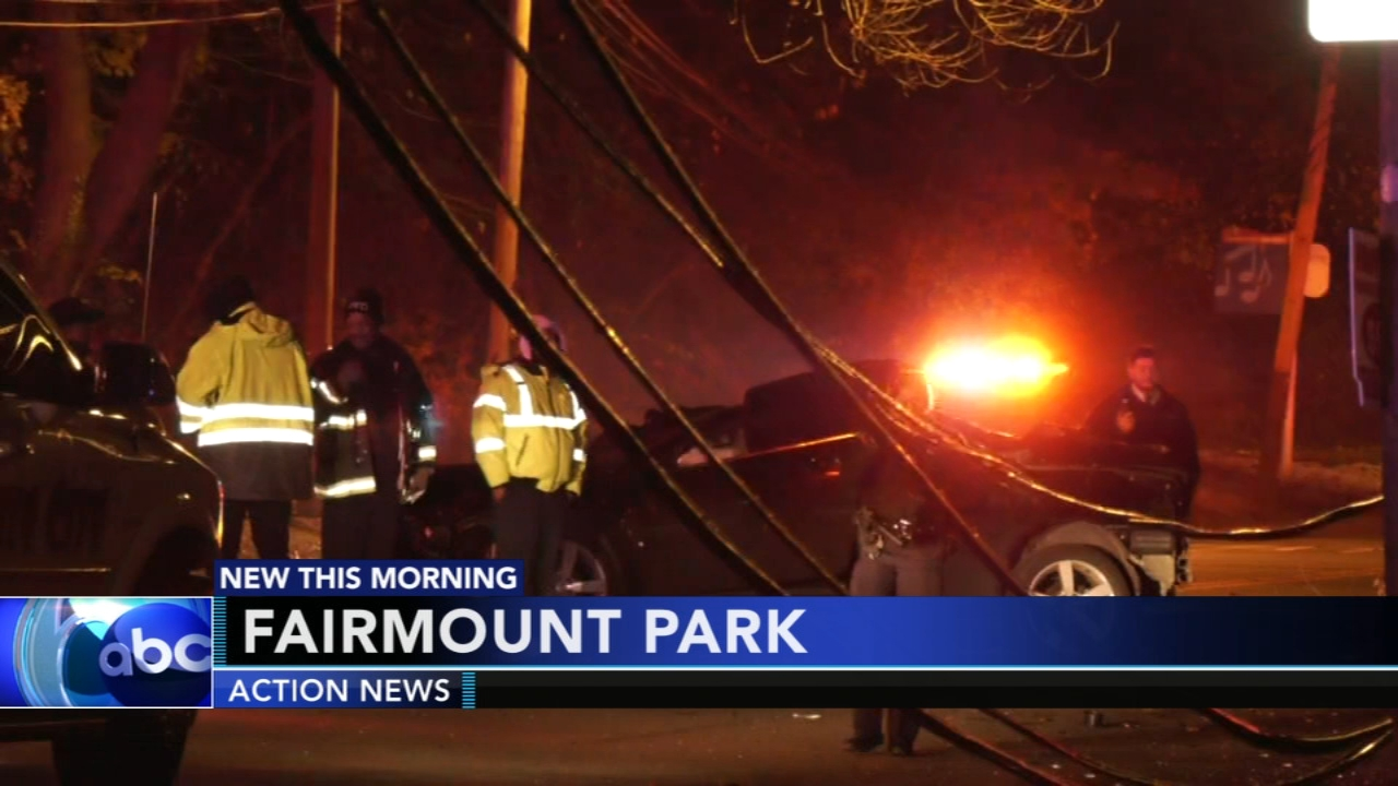 Car crashes into utility pole in Fairmount Park. Gray Hall reports during Action News at 6 a.m. on November 17, 2018.