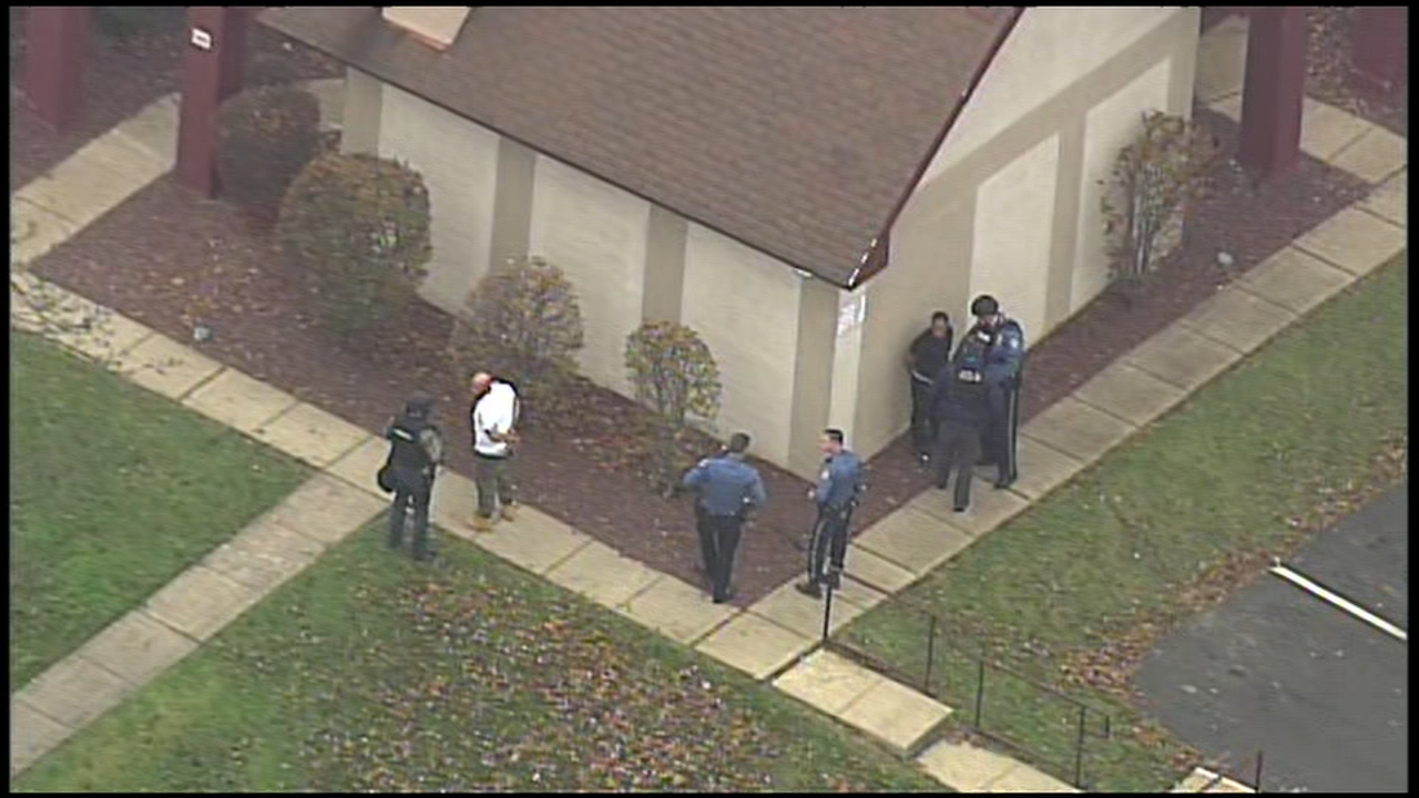 Chopper 6 showed authorities take two people into custody following a barricade situation in Bensalem, Bucks County.