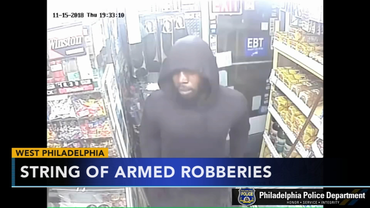 Search for man in grocery store armed robberies in West Philly. Rick Williams reports during Action News at 12 p.m. on November 20, 2018.