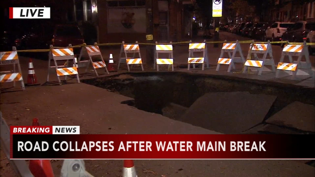 Water main break leads to street collapse in South Philadelphia. Matt ODonnell reports during Action News at 4 a.m. on November 21, 2018.