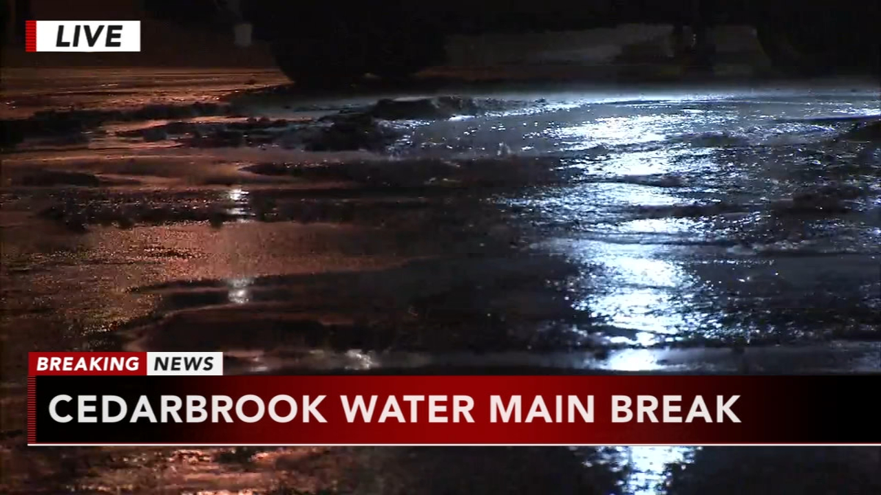 Water main break causing icy conditions in Cedarbrook. Matt Pellman reports during Action News at 5 a.m. on November 23, 2018.