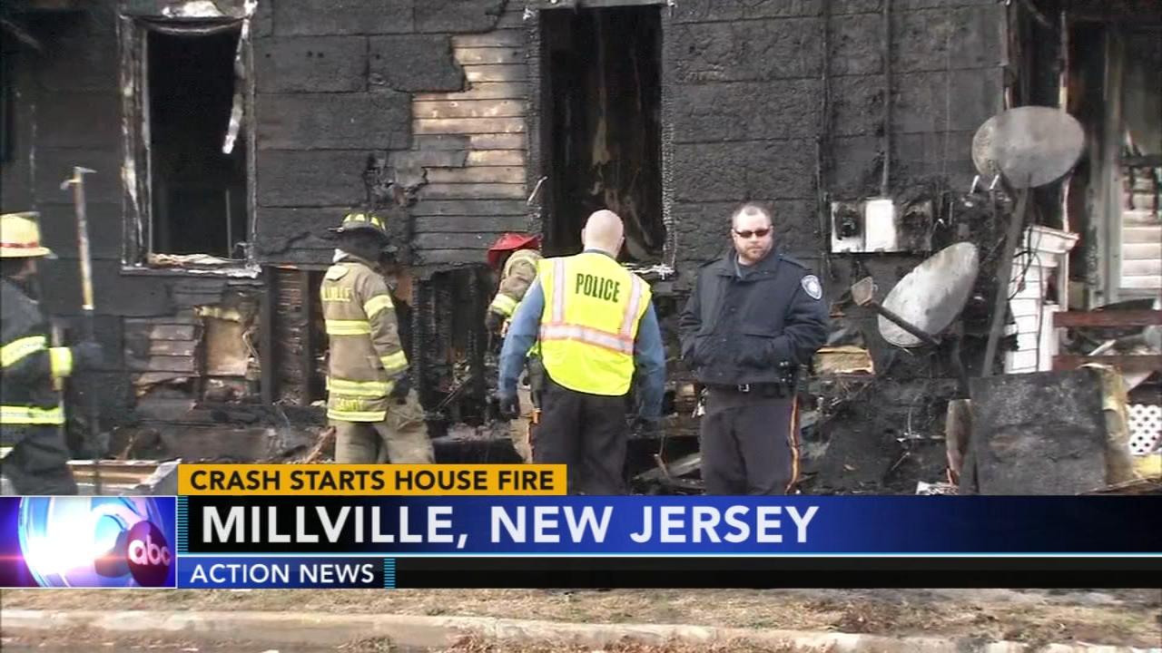 Crash starts Millville house fire. Matt ODonnell reports during Action News Mornings on November 29, 2018.