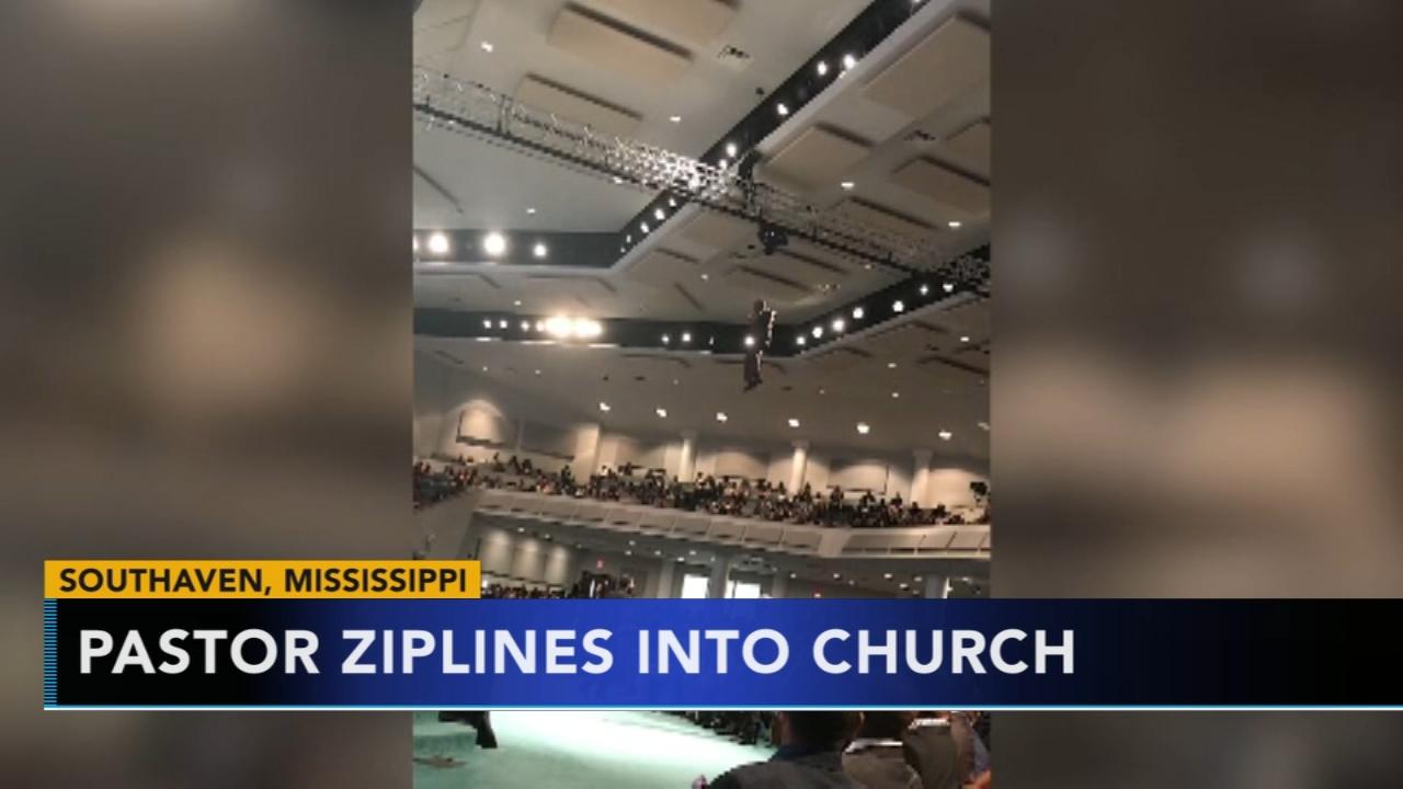 Pastor ziplines into church. Matt ODonnell reports during Action News Mornings on November 30, 2018.