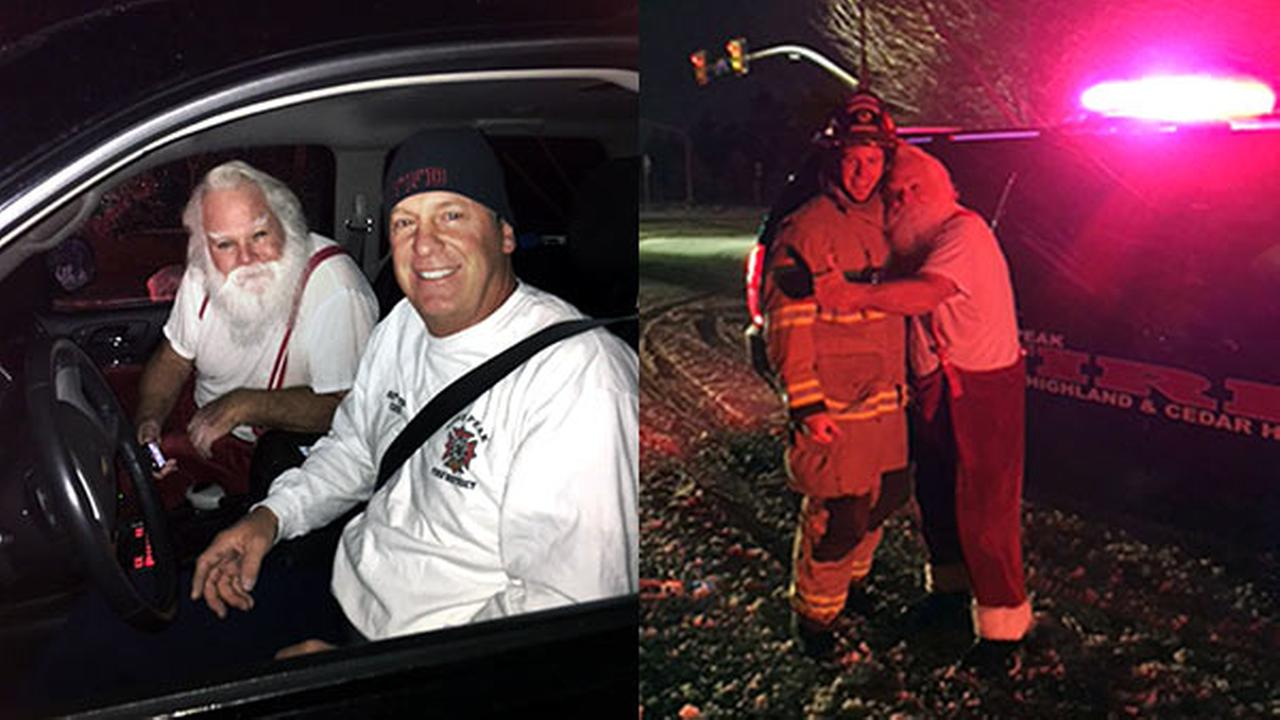 Utah firefighters help man dressed as Santa after car fire