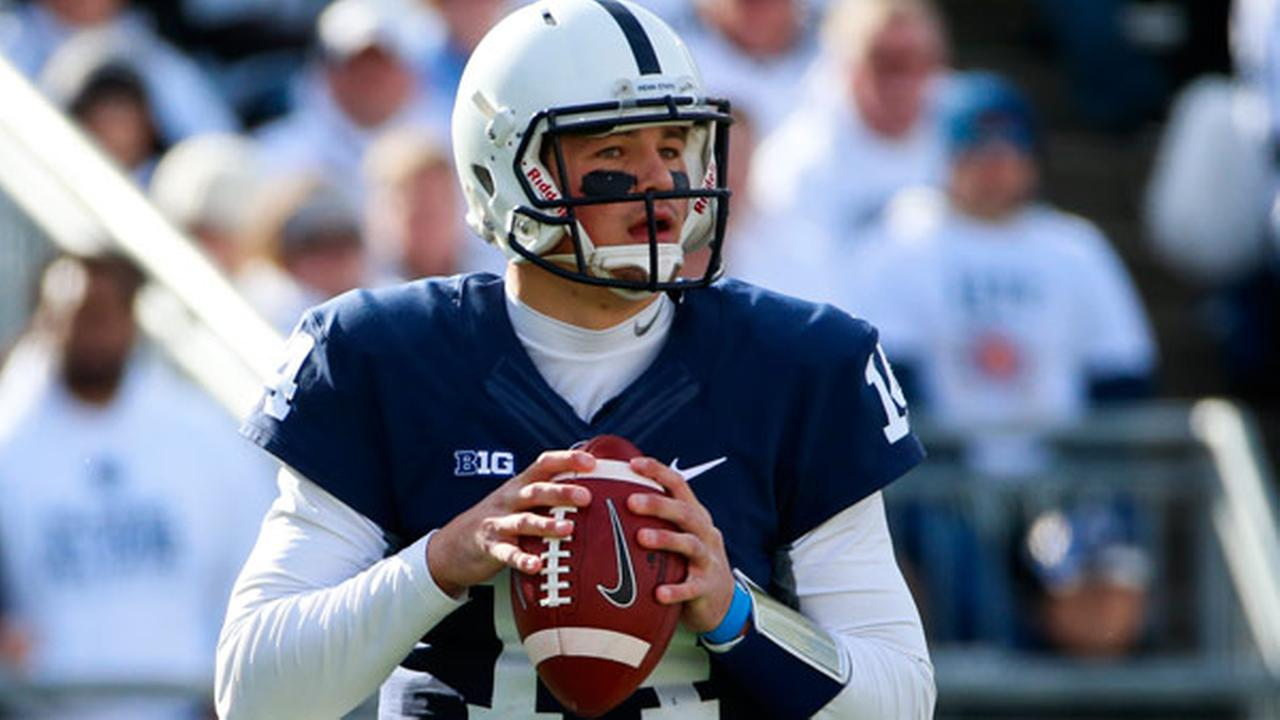 Penn State quarterback Christian Hackenberg (14) plays during an NCAA college football game against Michigan in State College, Pa., Saturday, Nov. 21, 2015.