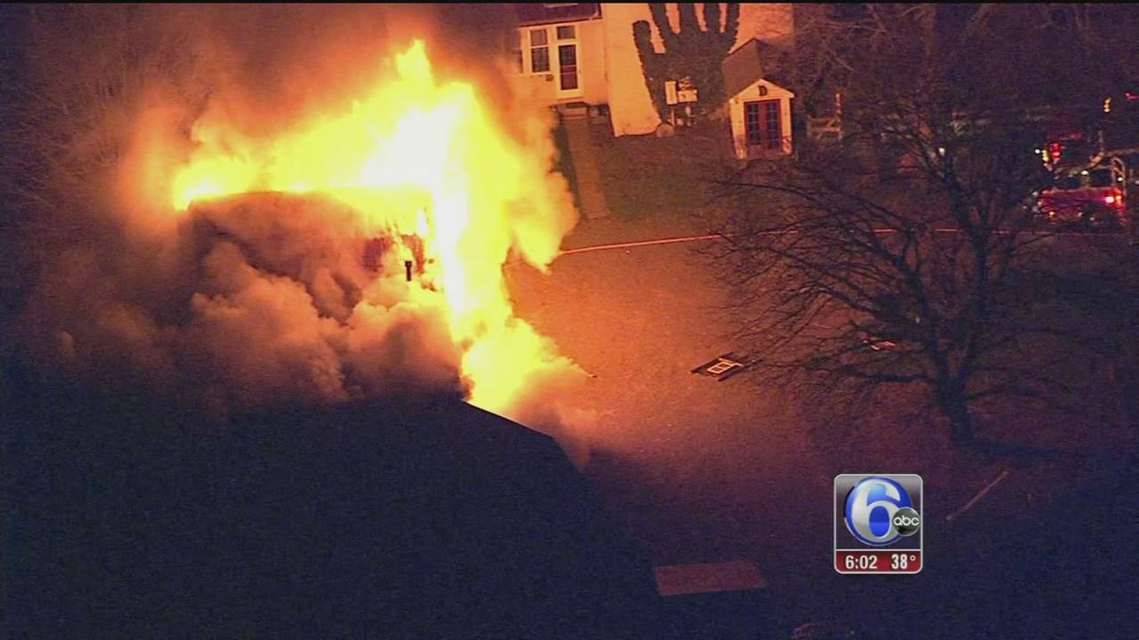 VIDEO: Bucks County firefighters battle 2 fires