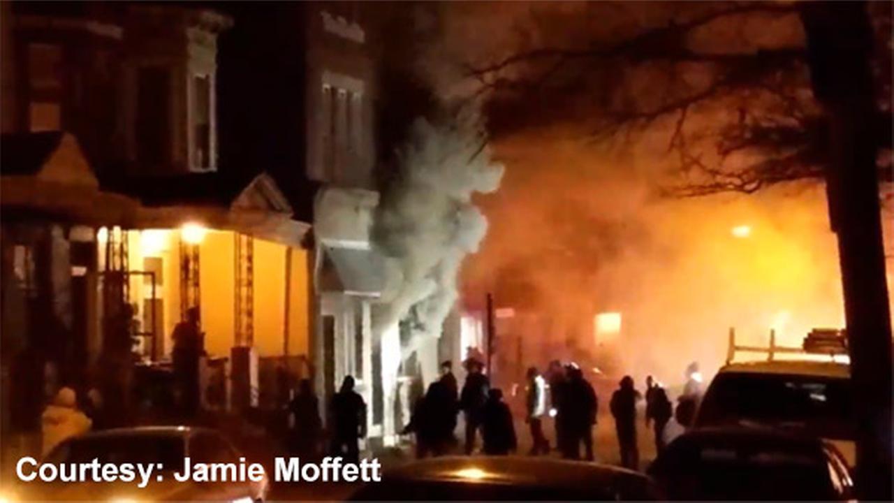 Crews battle fire in Kensington