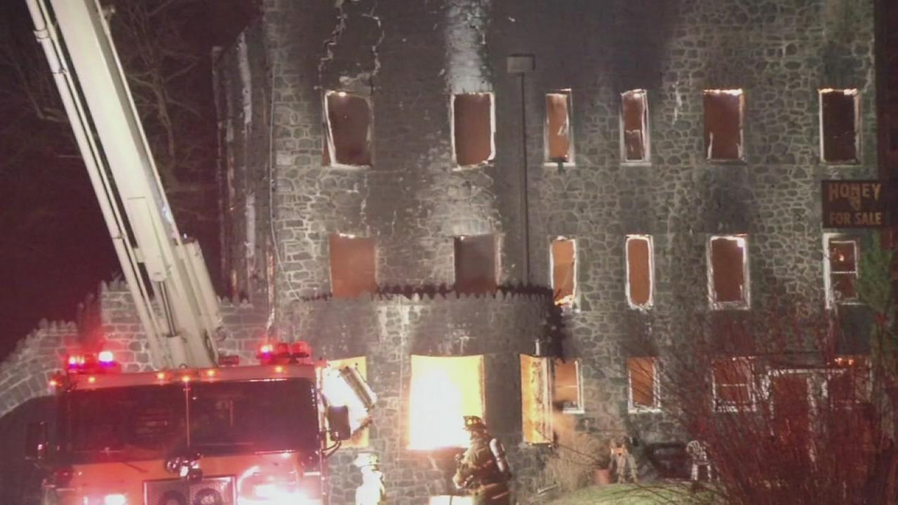 VIDEO: Historic castle goes up in flames in Delco