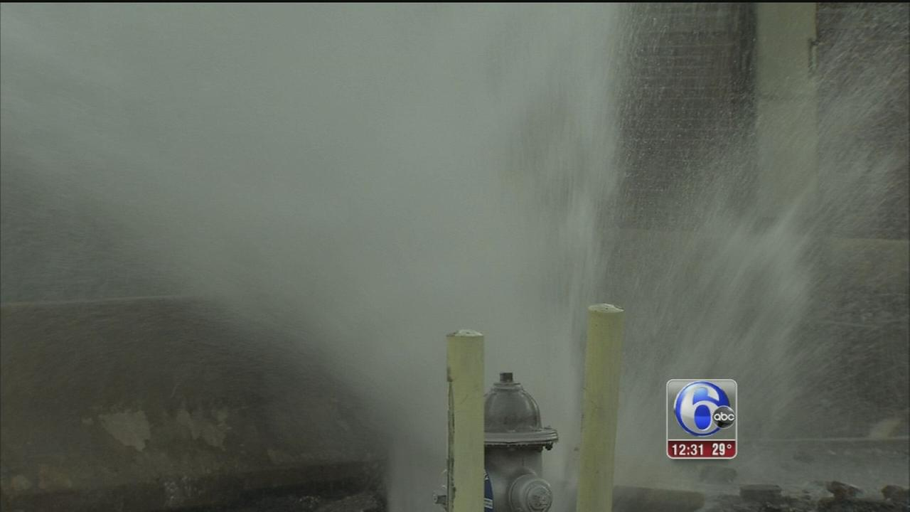 VIDEO: Broken water line forms geyser