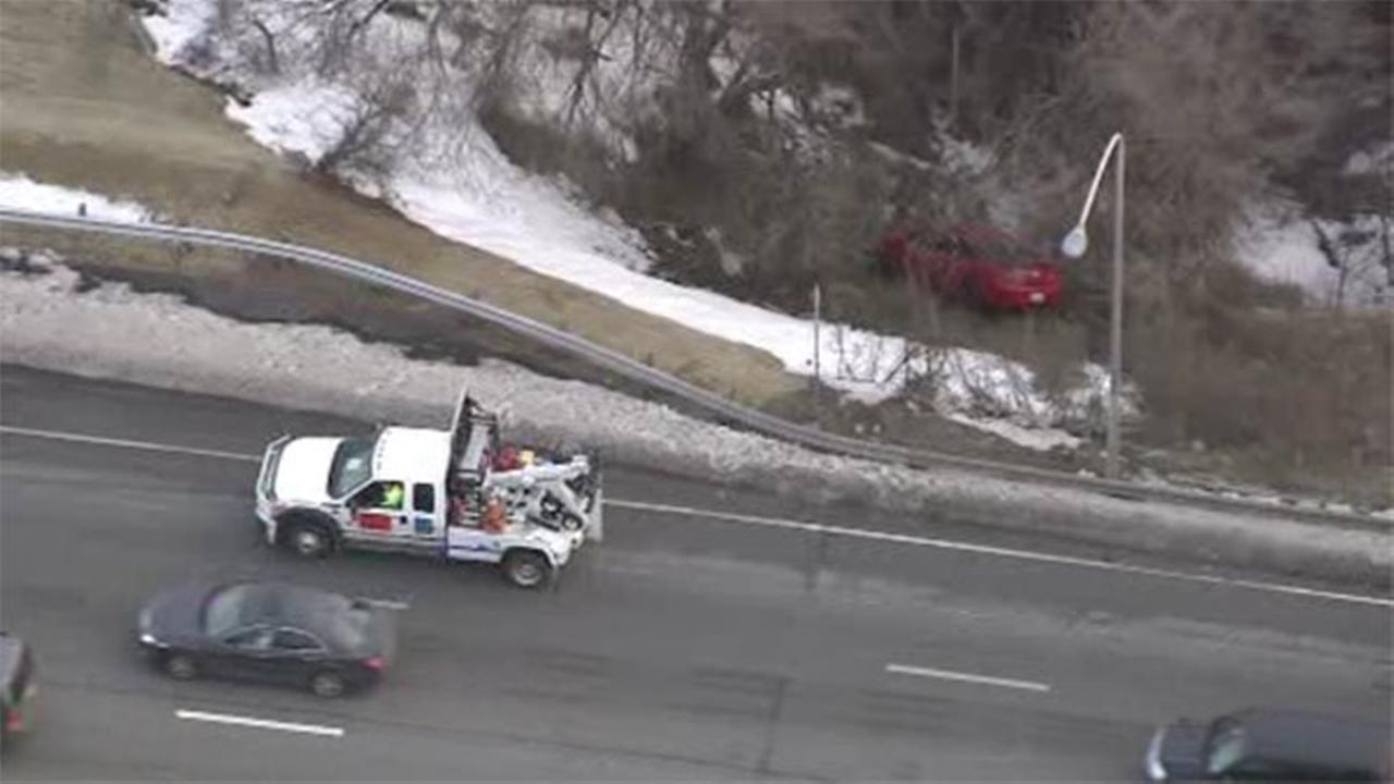Pennsylvania State Police are on the scene after an accident caused a car to leave the road on I-95.
