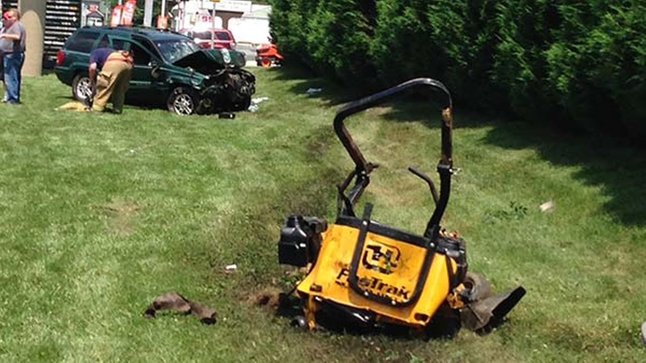 Man on riding mower hit by car in Delaware