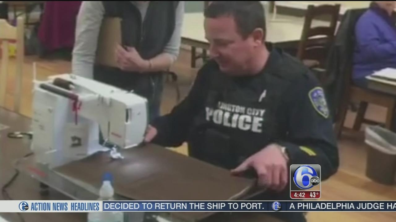 VIDEO: Burlington officers take quilting class