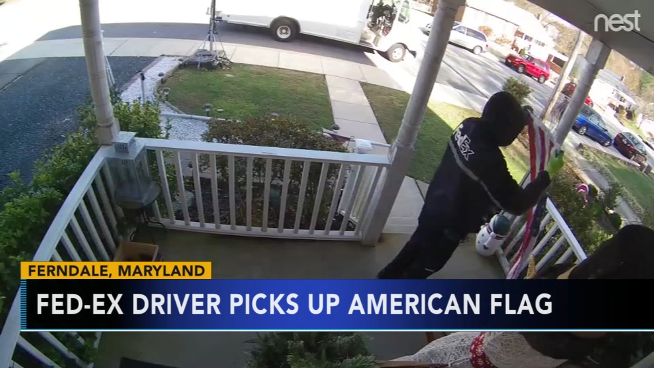 Fed-ex driver caught on home surveillance stopping and folding fallen American flag. Gray Hall reports during Action News at 7 a.m. on December 1, 2018.