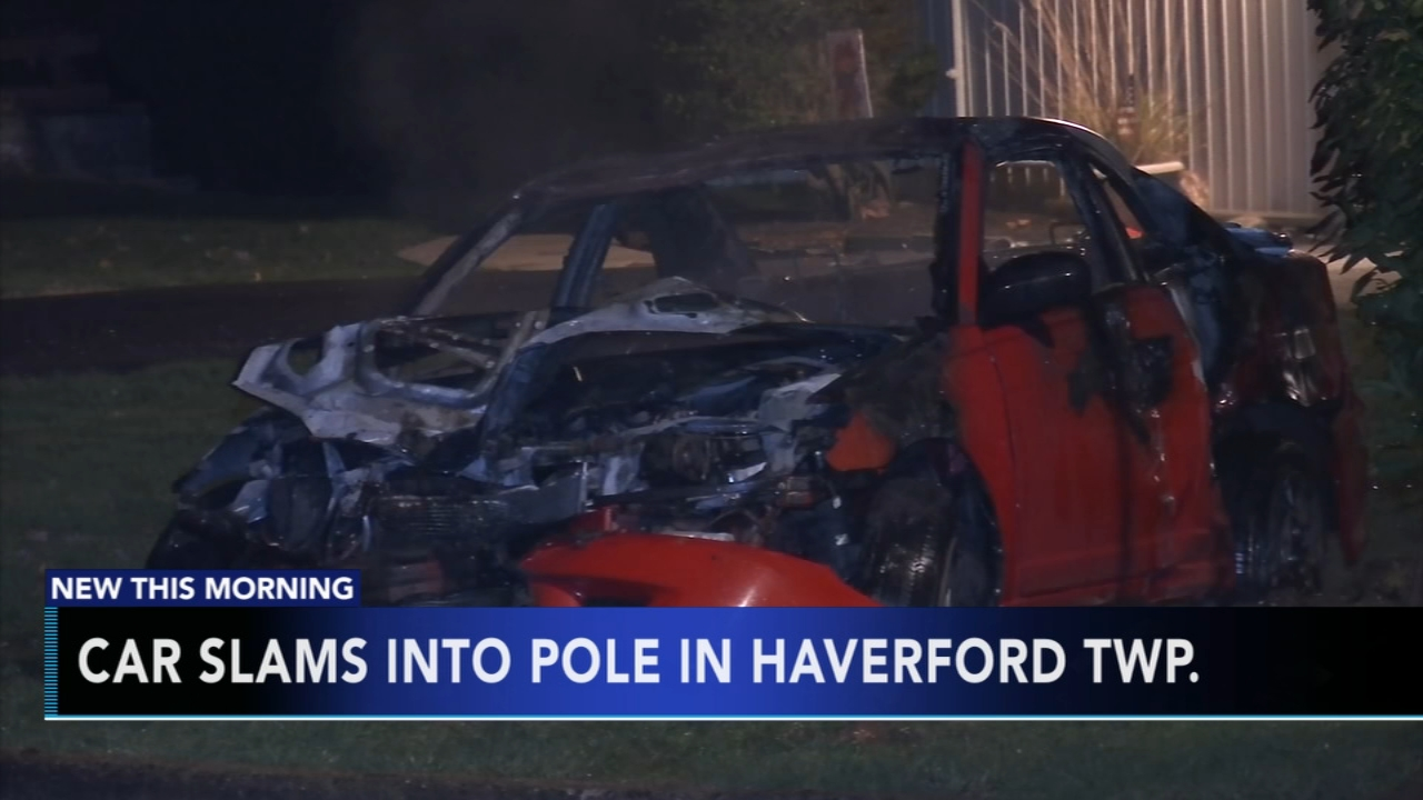 Car catches fire after hitting utility pole in Haverford Township. Gray Hall reports during Action News at 7 a.m. on December 1, 2018.