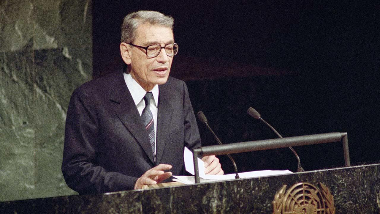 Boutros Boutros-Ghali,  Deputy Foreign Minister of Egypt, addresses the United Nations General Assembly after being sworn in as the new U.S. Secretary-General (1991).