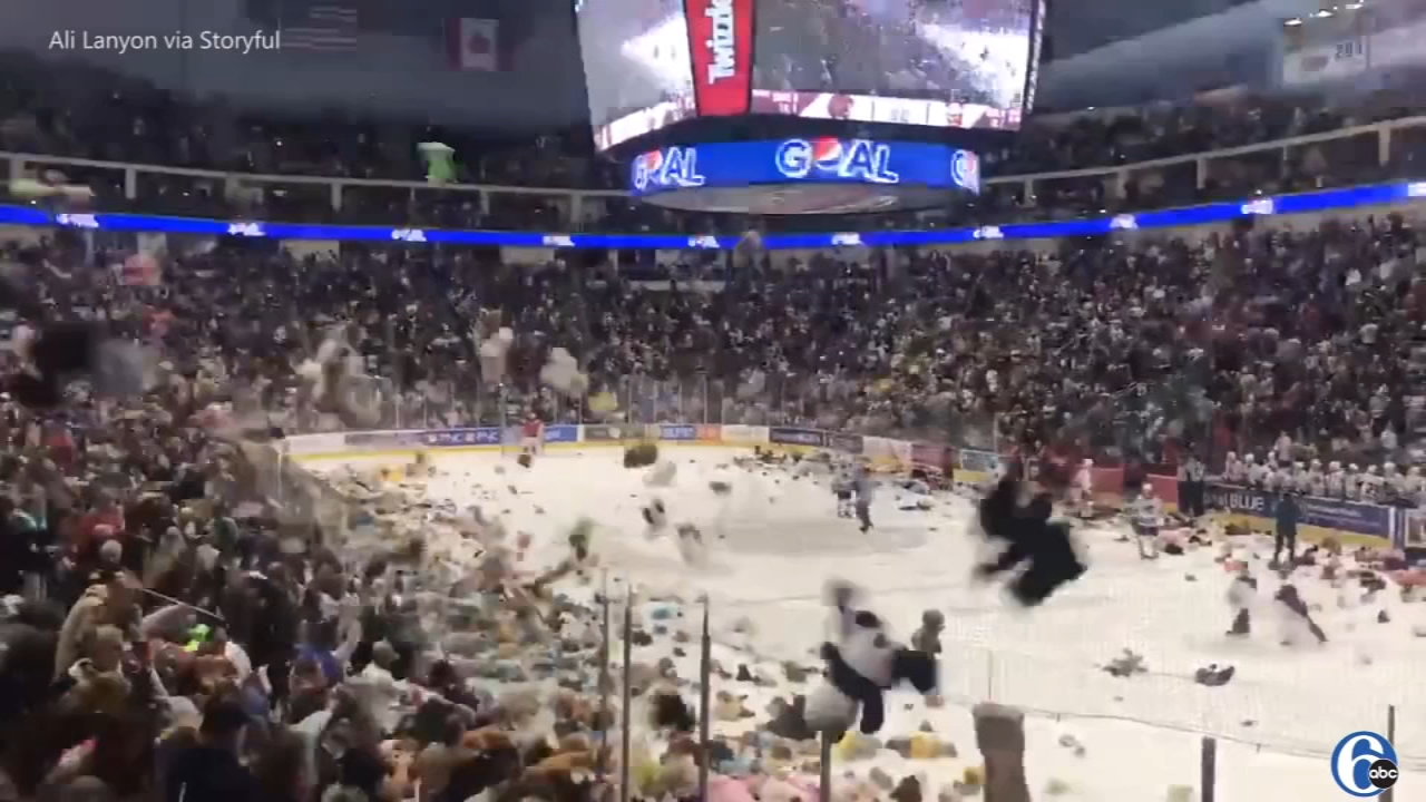 Teddy bears hit the ice at the Hershey Bears game at the Giant Center on Sunday, December 2, 2018. (Credit: Ali Lanyon via Storyful)