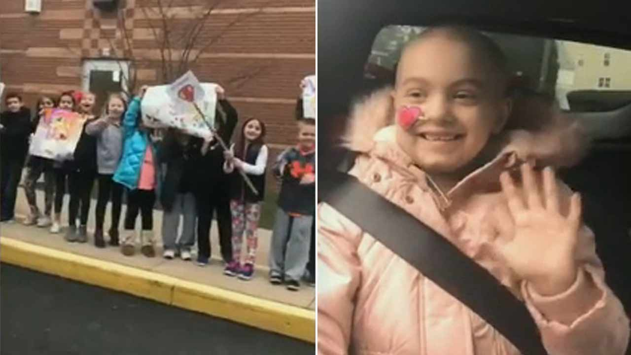 Girl battling cancer receives incredible show of love from classmates at Roslyn Elementary School